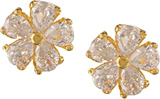 Archi Collection 14k (585) Ethnic Non-precious Metal, Rhinestone & Crystal and Cubic Zirconia Stud Earrings for Women & Girls