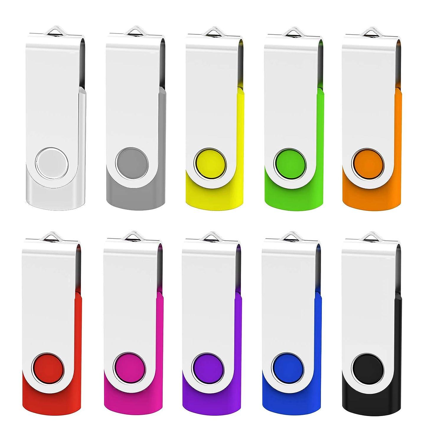 KEATHY 10 Pack 32GB USB Flash Drive USB 2.0 Swivel Thumb Drive Memory Stick Jump Drive Pen Drive - 10 Mixed Color