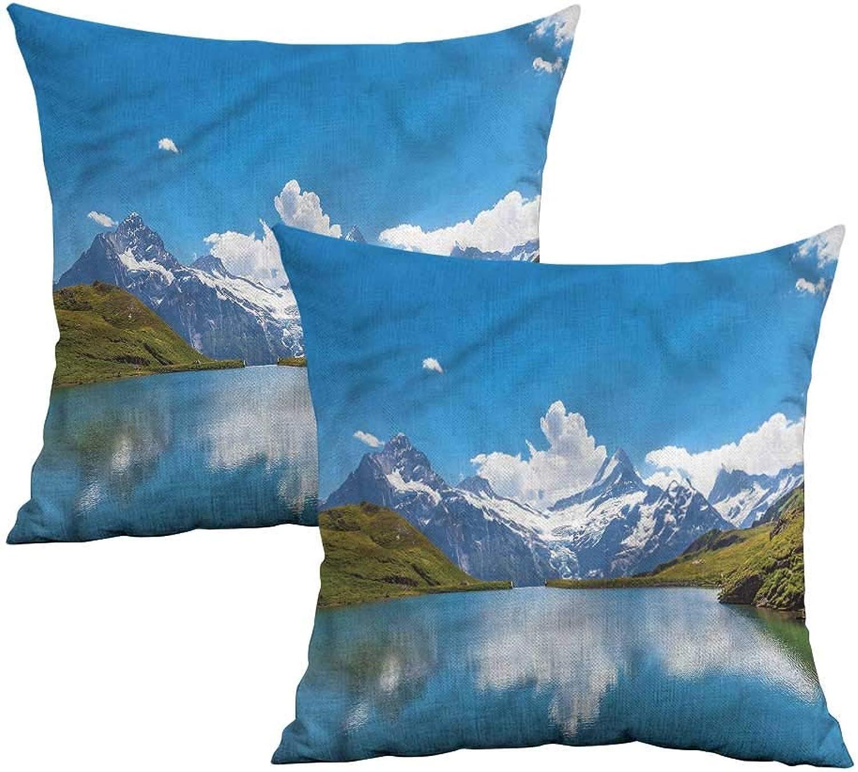 Khaki home Landscape Square Funny Pillowcase Snow Frozen Lake Swiss Square Funny Pillowcase Cushion Cases Pillowcases for Sofa Bedroom Car W 20  x L 20  2 pcs