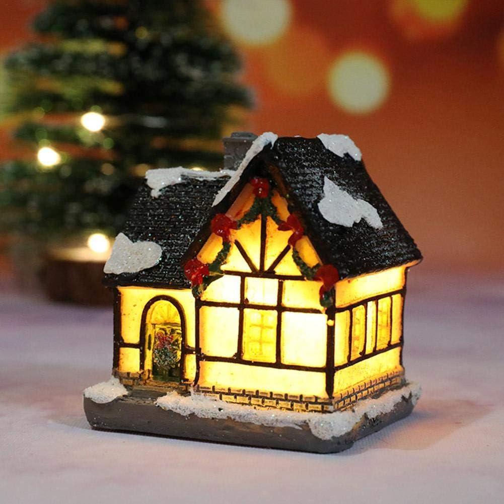 Brillie Villaggio in Resina con Scena di Natale e Statuette con Decorazioni Natalizie a Luce LED Bianca Calda