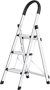 Lionladder 3 Step Stool Aluminum Ladder Portable Folding Anti-Slip with Rubber Hand Grip 330lbs Capacity,Silver Household Stepladders