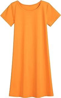 VWMYQ Girls Short Sleeve T-Shirt Dress Swim Cover Up Summer Sundress Size 11/12 Orange
