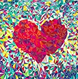 DIY 5D Diamond Painting by Number Kits, Geometric Red Heart Full Drill Rhinestone Embroidery Cross Stitch Pictures Arts Craft for Home Wall Decor 11.8 x 11.8 inch