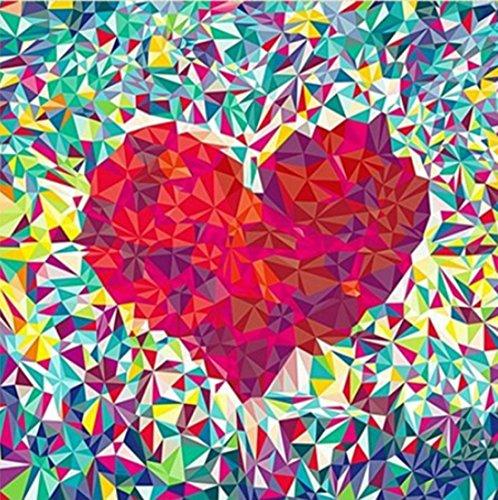 DIY 5D Kit de pintura de diamante por números,diseño geométrico de corazón rojo con diamantes de imitación bordados,cuadros de punto de cruz, manualidades para decoración de pared del hogar,30 x 30 cm