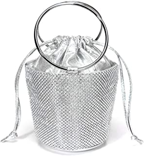 Handbags - Vintage Ladies Dinner Bag, High-end Bucket Pearl-encrusted Drill Er, Gold/Silver/Black, 14x13x12CM Shining (Color : Silver)