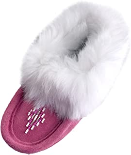 Laurentian Chief Fuchsia Suede Slippers with Rabbit Fur Collar Moccasins (Toddler/Little Kid/Big Kid)