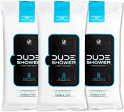 DUDE Shower Body Wipes (3 Packs, 8 Wipes Each) Unscented Naturally Soothing Aloe and Hypoallergenic, Portable Travel-Sized...