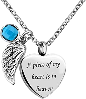 Casa De Novia Angel Wing Charm 12 Colors Crystal Heart Cremation Urn Necklace for Ashes Keepsake Memorial Jewelry