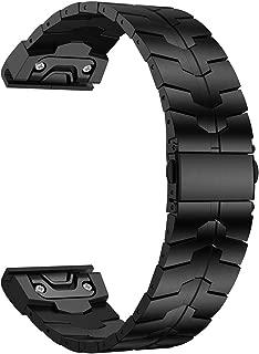 Fenix 5X/6X Band, 26mm Titanium Metal Quick Fit Watch Strap with Enhanced Durability Version Compatible for Garmin Fenix 5X/5X Plus/3/3HR/6X/6X Pro Smartwatch, DLC- Black