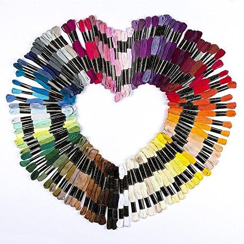 100 Döckchen Stickgarn aus 100% Baumwolle, je 8m, 6-fädig | 100 verschiedene Farben | ideal zum Sticken, Nähen, Basteln, Häkeln, Freundschaftsbänder, Stickbilder, Kreuzstich