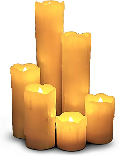 LED Lytes Timer Flameless Candles Slim Set Of 6 2 Wide And 2 9 Tall Ivory Color Wax And Flickering Amber Yellow Flame Battery Powered Flickering Candle Set