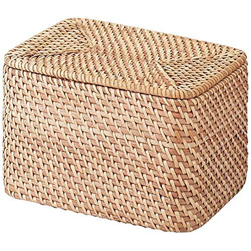 無印良品 重なるラタン長方形ボックス・フタ付