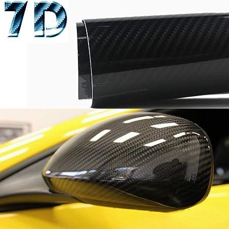 6ft X 5ft 7D Dark Gray GLOSSY Carbon Fiber Vinyl Wrap Sheet With Air Release
