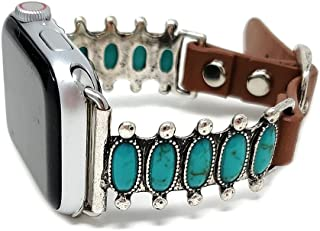 Emulily Compatible with Apple Watch Brown Leather Band 38/40 mm Western Turquoise Boho