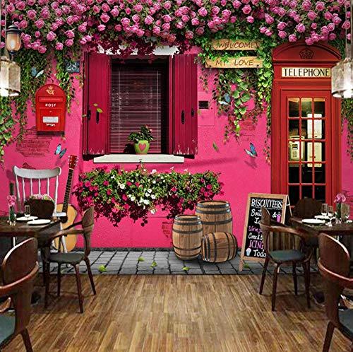 Mural Fotográfico ,200 X 140 Cm,Incluye Pegamento Dormitorio Salon Fotomurales Pared - Cabina De Teléfono Roja Ilusión
