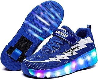 a872ccf63b0fd Garçons Fille LED Clignotante Chaussures à Skates avec USB Rechargeable et  Ajustable Roues Lumineuse Patins à