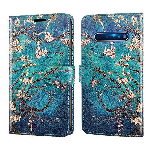 CoverON Schutzhülle für LG V60 THINQ 5G, RFID-blockierender Schutz, Klappetui mit Standfunktion, PU-Leder, Mandelblüte