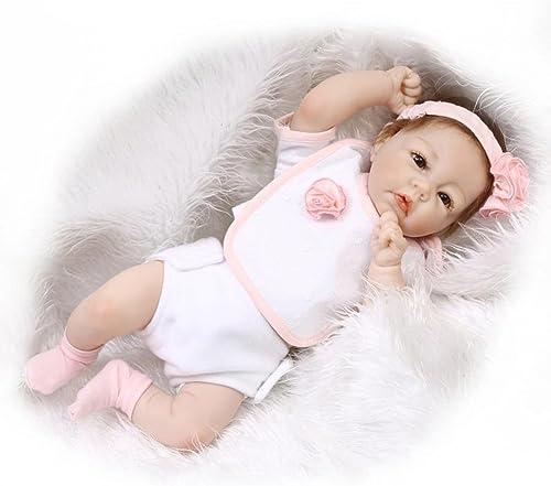Broadroot Weißhe Silikon-Simulation Reborn Baby emulierte Puppe Kinder Playmate Geburtstag Kinder Geschenk