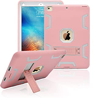 Dailylux New iPad 9.7 inch 2018/2017 Case,Three Layer Defender Heavy Duty Shock Absorption Rugged Hybrid Protective Case with Kickstand Cover for New iPad 9.7 Inch-Rose Gold+Grey