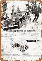 レトロヴィンテージ、1959トライアンフTR-3自動車ZC262ヴィンテージブリキの壁サインレトロアート鉄塗装金属警告プラーク家の庭店バーコーヒーハウス