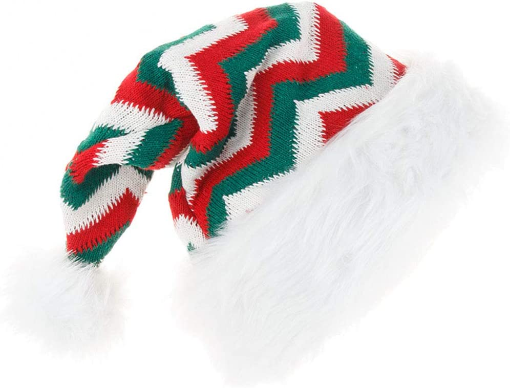 Knitted Santa Hat Adults Warm Christmas Elf Hats Xmas Party Decor Cap Costume Apparel Accessories(Green)