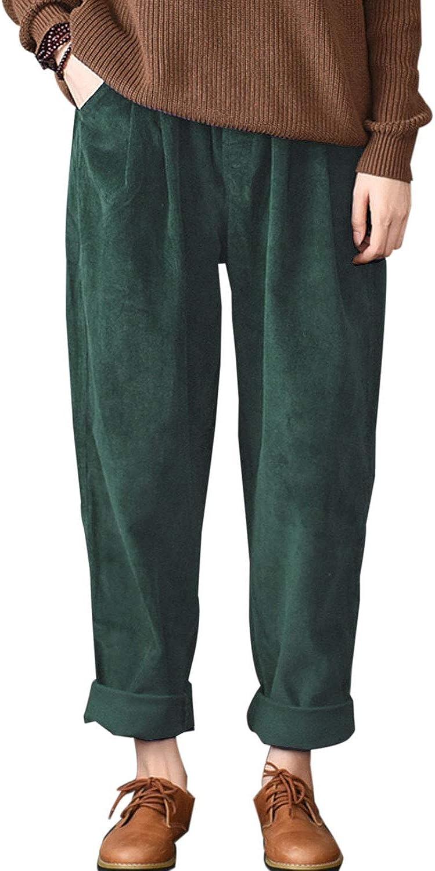 Aeneontrue Women's Fall Corduroy Casual Pants with Pockets Medium