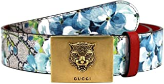 Gucci Unisex Blue Bloom Print Belt With Gold Tiger Buckle 546384 8492