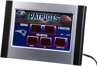 Team Sports America NFL New England Patriots Logo Scoreboard Alarm Desk Clock, Small, Multicolored