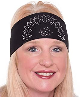 Open Road Girl Hair Bandana: Biker Chick Tie-Back Stretchy Head Wrap: Oval Crown, 3 Colors