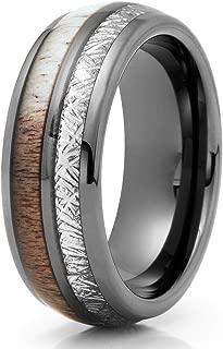 Gunmetal Tungsten Ring - Deer Antler Wedding Band - Meteorite Ring