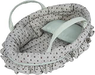 Rakki Dolli Soft Doll Carry Cot Set for 18 Inch Baby Doll, Sweet Dreams Bassinet Doll Accessory Includes a Cot with a Pillow, Fits for American Girl Dolls