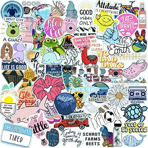 Vsco Stickers 70 Pack I Cute Stickers Waterproof 100% Vinyl Stickers I Vsco Girls Stuff, Aesthetic Stickers, Vsco Stickers for Water Bottle, Laptop Stickers, Cellphone (70 Pack, VSCO Stickers)