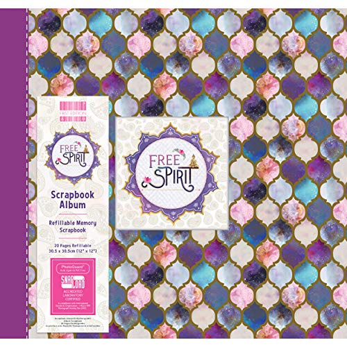"First Edition FEALB099 12""x12"" Scrapbook Album Free Spirit – 10 Inserts – Holds 20 Pages-Snap-load Technology-Refillable-for Scrapbooking, Memory Keeping, Photo Albums, Journaling, Multicolor, 12 x 12"