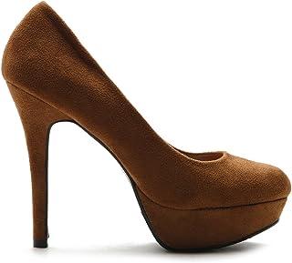 Ollio Women's Stiletto Faux Suede Platform High Heel Multi Color Shoe Pump
