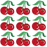 PAGOW 10PCS Cherry Iron on Patch, Cute Cherry Fruit Embroidered Sew Iron-on Appliques Patch for Jeans, Neckline, Clothing, Bags (2.37 x 2.44 inch)