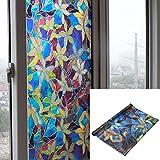 Pegatinas de esmerilado autoadhesivas para ventanas - Decoración en cristal para mayor intimidad - Tamaño 45 x 200 cm (Flor de colores)