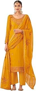 أزياء هندية صفراء للمرأة الاحتفالية ارتداء الحرير Tusser Straight Salwar Kameez باكستاني فستان فاخر 6087