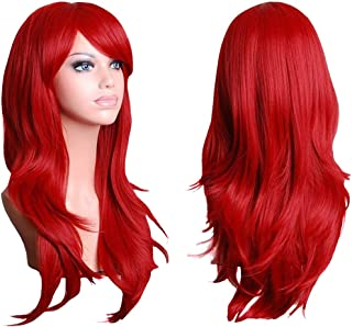 "TopWigy Red Long Curly Wigs for Women Wavy Hair Wig Synthetic Hair Colored Ariel Custome Party Cosplay Wig (Red 28"")"