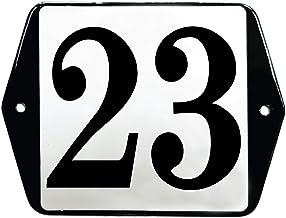 Emaille Huisnummer vlak met oren - 23