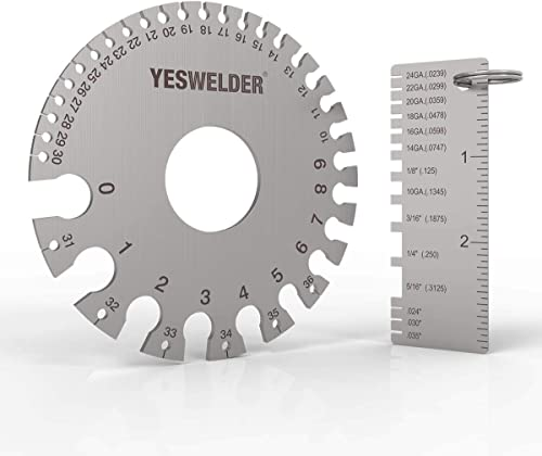 high quality YESWELDER Round Dual Sided Metal Sheet Guage 2021 & Metal Sheet Thickness Gauge 2pk Stainless Steel Wire outlet online sale Welding Gauge outlet sale