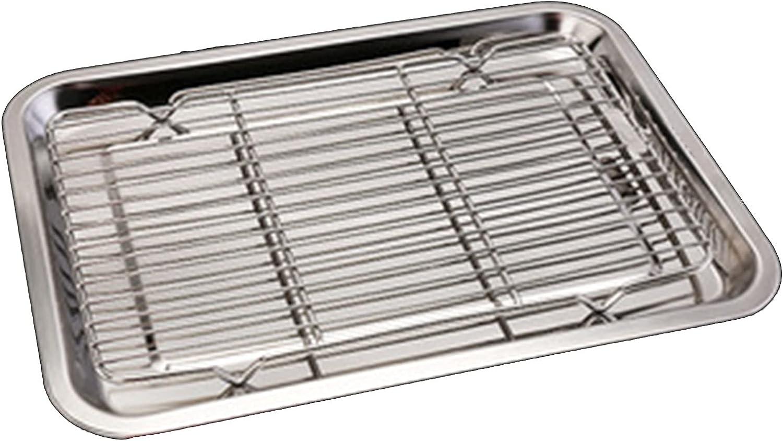 WZQZ Grill Catch Pan supreme Stainless Tulsa Mall Grid Drip Drain Steel Squar