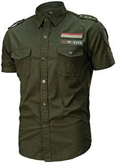 Hombre Camisa Casual de Estilo Militar Chaqueta Leñador de Manga Corta 100% Algodón