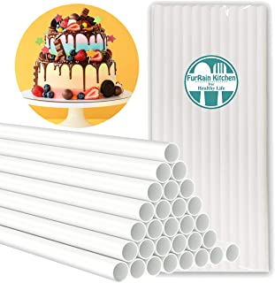 Plastic Cake Dowel Rod White Cake Dowel Rods, 0.4 Inch Diameter Support Rods for Stacking Tiered Cake Cake Sticks (9.5 Inch)