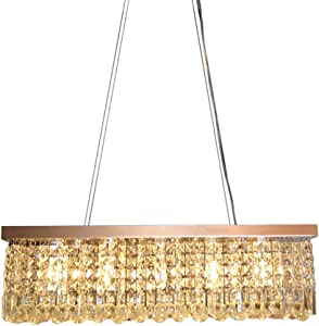 CRYSTOP Rectangle Crystal Chandeliers Dining Room Modern Ceiling Light Fixtures Hanging Chandelier Pendant Light Living Room Beautiful Fixture Polished Chrome Finish L31.5'' x W9.8'' x H8.9''