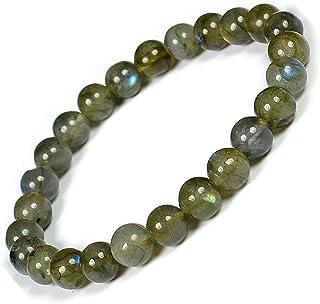 Zoya Gems & Jewellery Labradorite Bracelet Crystal Bracelet Round Beads 8 mm Stone Bracelet for Reiki Healing and Crystal ...