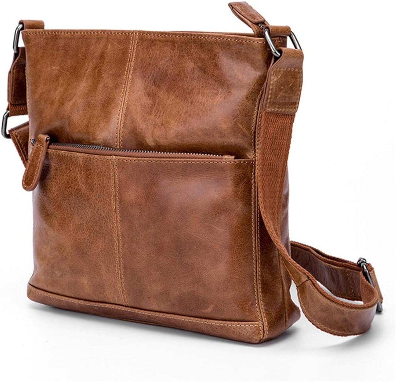 BAACHANG Herren Große Messenger Schultertasche Vintage Leder Aktentasche Crossbody Day Bag für Schule und Arbeit (Farbe   braunish Gelb) B07L819QM5