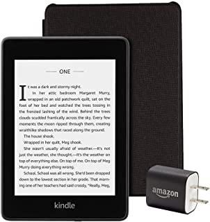 Kindle Paperwhite Essentials Bundle including Kindle Paperwhite 8GB - Wifi, Amazon Leather Cover - Black, and Power Adapter