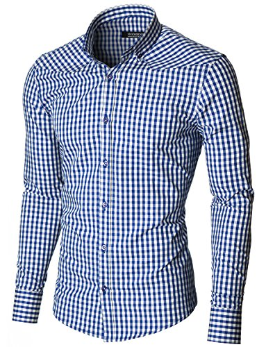 MODERNO Mens Checkered Shirts Dress Slim Fit Long Sleeve Button down (MOD1458LS) Blue / White US L