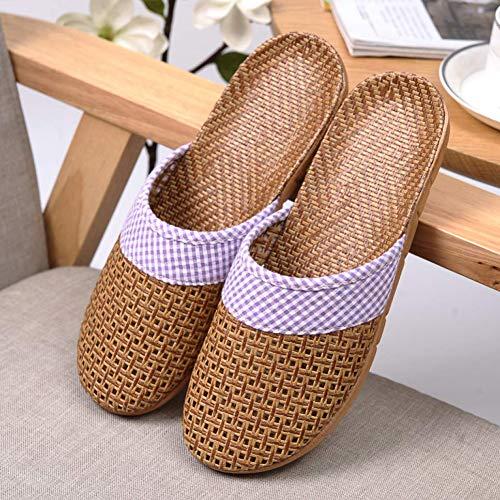 Sandalias Zapatillas de lino Zapatos de verano Zapatillas antideslizantes Veranda Zapatillas Cierre frontal Estilo japonés Simple Ventilación ultraligera Transpirable Sudor Cómodo,Púrpura,22.5~23cm