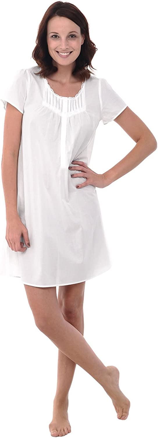 Alexander Del Rossa Womens 100% Cotton Lawn Nightgown, ShortSleeve Chemise